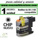 CARTUCHO TINTA NEGRO BROTHER LC121 LC123 COMPATIBLE (NUEVO CHIP)