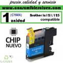 CARTUCHO TINTA CYAN BROTHER LC121 LC123 COMPATIBLE (NUEVO CHIP)