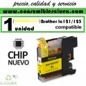 CARTUCHO TINTA AMARILLO BROTHER LC121 LC123 COMPATIBLE (NUEVO CHIP)