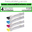 PACK TONER DELL 5100 NCMY COMPATIBLE PARA IMPRESORAS DELL 5100CN