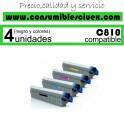 PACK 4 TONER NCMY OKI C810 COMPATIBLE PARA IMPRESORAS C810, C810DN, C830, C830DN, MC851, MC861