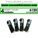PACK 4 TONER XEROX PHASER 6128 NCMY COMPATIBLE
