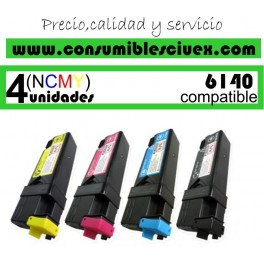 PACK 4 CARTUCHOS COMPATIBLES XEROX PHASER 6140 A ELEGIR COLOR