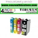 PACK 4 CARTUCHOS COMPATIBLES EPSON T1301/2/3/4 A ELEGIR COLOR