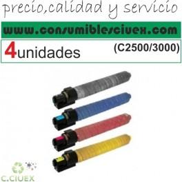 PACK 4 RICOH MP-C2500 / MP-C3000 NCMY COMPATIBLE